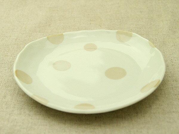 ベージュドット プレートM 水玉 アイボリー ケーキ皿 デザート皿 シンプル・ナチュラル 取り皿【 02P18Jun16 】