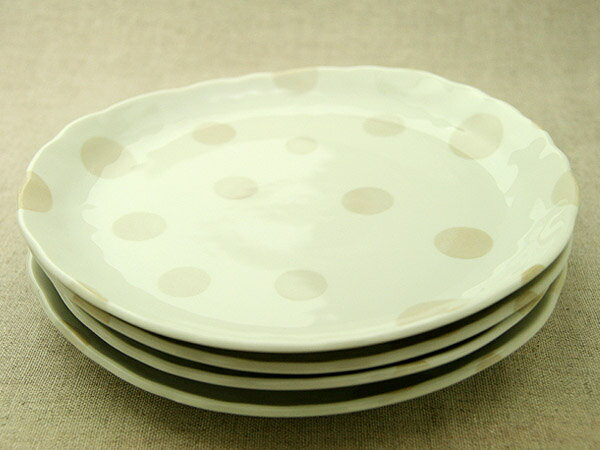 【まとめてお得】ベージュドット プレートLL4枚 水玉 アイボリー ランチプレート カレー皿 パスタ皿 大皿【 02P18Jun16 】