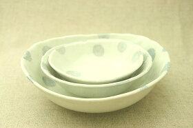 ブルードット粉引調/水玉/ボウルL/小鉢/サラダ/デザート/シンプル/ナチュラル