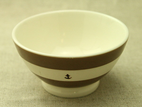 マリンボーダーブラウン カフェオレボウルM/茶/おうちカフェ/ほっこり/ナチュラル/日本製/茶碗/汁椀/スープカップ