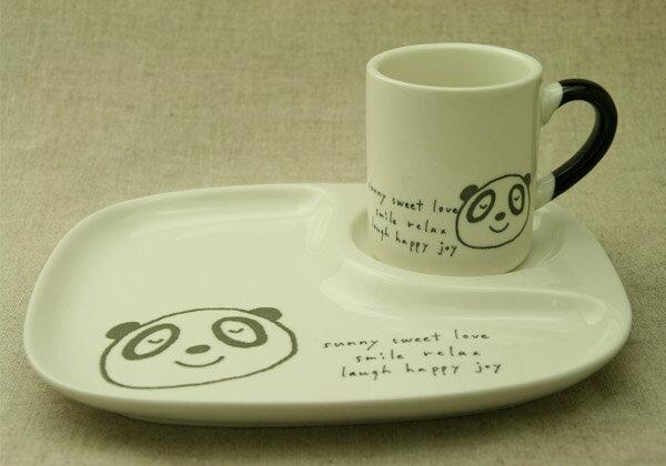 訳あり パンダイラスト/アイボリー陶器仕切ランチプレート&マグ2点子供食器セット/日本製 ギフト対応不可