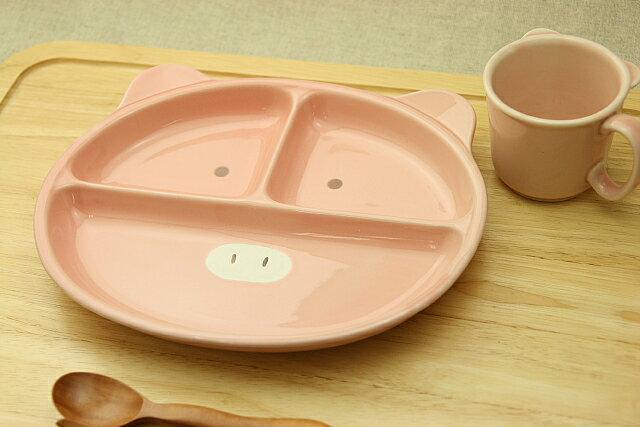 こぶたフェイス仕切りランチプレート&マグ2点セットベビー食器に!安心な日本製 ピッグ(子供)ブタ【楽ギフ_包装】【楽ギフ_のし】【楽ギフ_メッセ入力】入園祝いに【 532P19Apr16 】