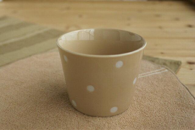 在庫限り かわいいドット 水玉カフェカップ ベージュミニ茶碗蒸しやデザートカップ、湯呑みにも使える深めの小鉢 そばちょこ ポワン
