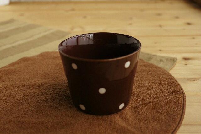 かわいいドット 水玉カフェカップ チョコミニ茶碗蒸しやデザートカップ、湯呑みにも使える深めの小鉢 そばちょこ ポワン