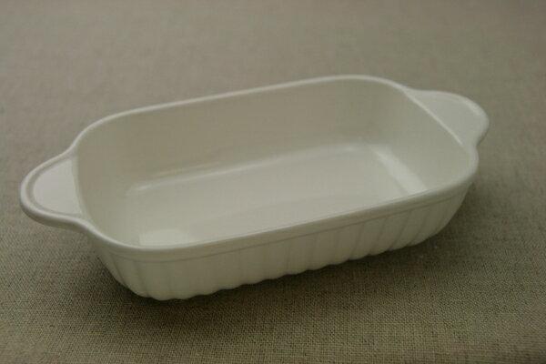 グラタン皿 長角 アイボリー 耐熱 耳付 日本製 ドリア オーブン 白 耐熱食器 耐熱皿