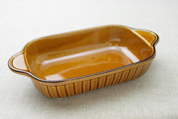 グラタン皿 長角 アメ色 ブラウン 耐熱皿 耳付 日本製 オーブン 茶色 耐熱食器