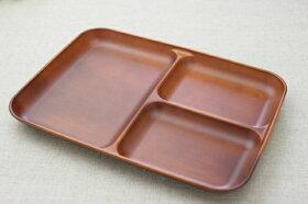 ライトブラウンシンプルな樹脂製スクエアランチプレートSEE日本製子供食器おうちカフェ・お子様に