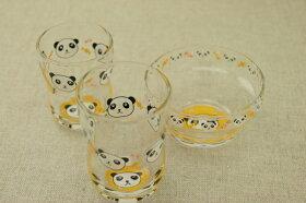 パンダガラスデザートボウル日本製・口部強化で小さなベビー・お子様にも安心なかわいいガラス食器ぱんだ