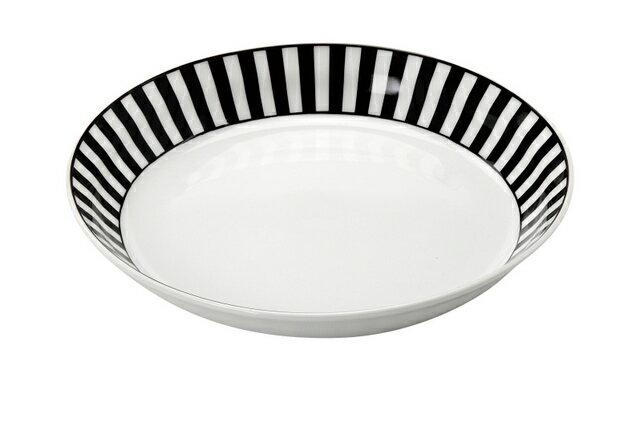 NOVA ノヴァ パスタ&カレー皿1枚★ドット/ボーダー★水玉・ストライプ 白と黒のカレー皿 パスタプレートおしゃれなカレー皿 日本製