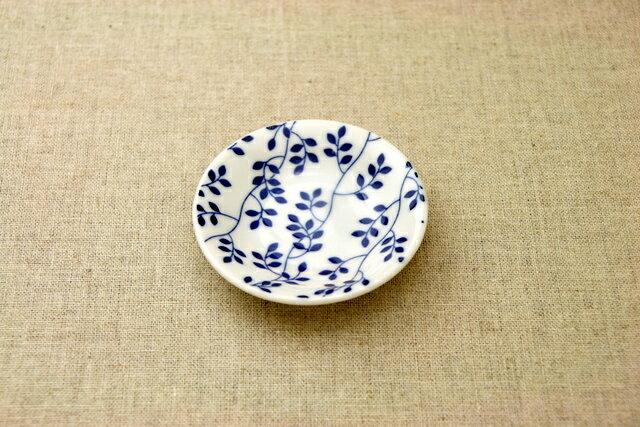 リーフ 豆皿 プレート薬味皿 醤油皿にピッタリ 10cm小皿 和食器 葉っぱ柄 群青5柄 おしゃれ