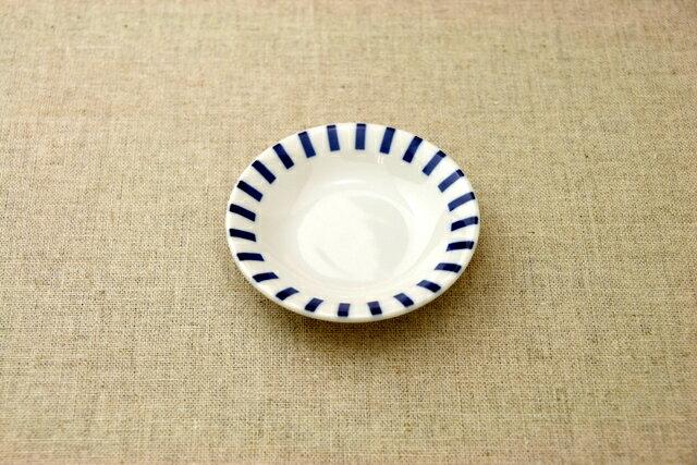 十草(ストライプ)豆皿 プレート10cm小皿 薬味皿 醤油皿にピッタリ 和食器 群青5柄 おしゃれ
