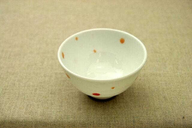 水玉(赤)軽いお茶碗 薄くて軽い日本製うすかるドット茶わん/飯碗/シンプル/定番
