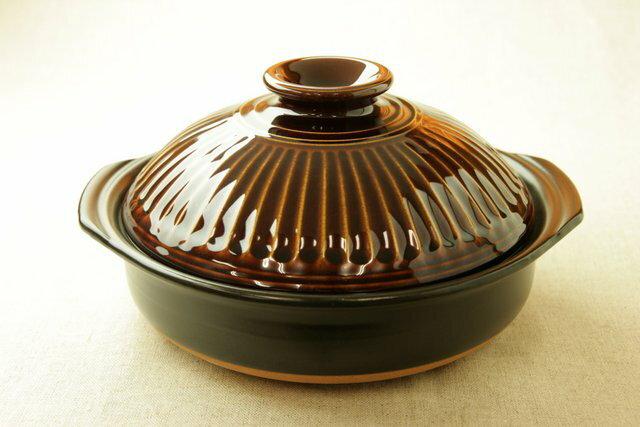 菊花アメ釉 エコ・ラク 土鍋 6号鍋 日本製 一人用直火可 耐熱 軽量 炊飯目盛付 夜食や一人暮らしに