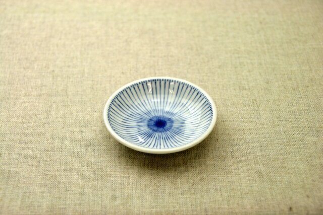 十草 青色ストライプ ほっこり使いやすい豆皿プレート9cm小皿 和食器