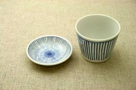十草青色ストライプほっこりつかいやすい豆皿プレート