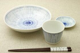 十草青色ストライプ深め21cmプレート6.8寸深皿和食器