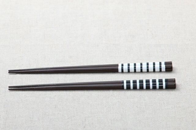 食洗機対応/かわいいしましま モノトーンボーダーのお箸 白/黒 23cm/日本製 おはし/メール便発送可能