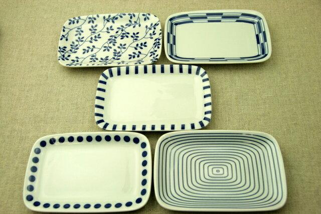 選べる5柄 四角い取り皿5枚セット 箱無し 水玉 渦 リーフ 十草 市松デザート・ケーキ皿にもスクエアプレート 長角皿 和食器 日本製の食器セット