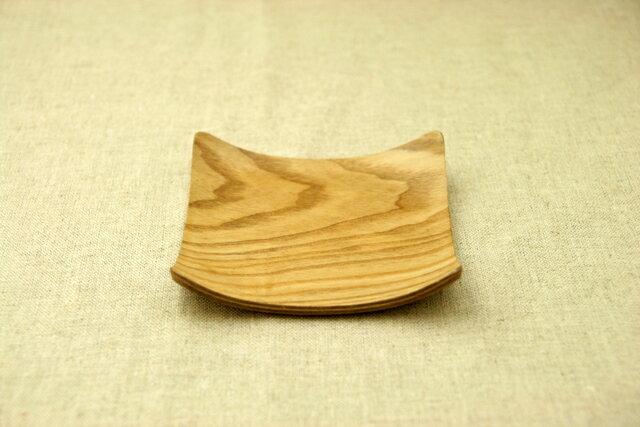 木製可愛いスクエアコースター♪ウィローウッド/レッドマホガニー ナチュラルな四角い受け皿 正角 菓子皿にも 茶托