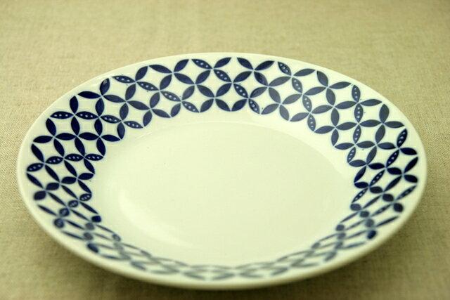 蒼宝(そうほう) 24cm大皿 青と白の反らし型8.0皿七宝 ディナープレート カレー皿 パスタ皿 和食器 日本製 カネ定 蒼の器【 02P18Jun16 】