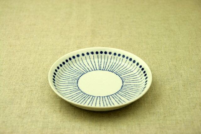 蒼十草(そうとくさ) 取り皿 青と白の反らし型4.5皿ストライプ 小皿 和食器 日本製 カネ定製陶 蒼の器【 02P18Jun16 】
