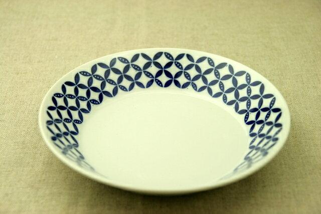 蒼宝(そうほう) 21cm深皿 青と白の反らし型6.3深皿七宝 カレー皿 パスタ皿 和食器 日本製 カネ定 蒼の器 【 02P18Jun16 】