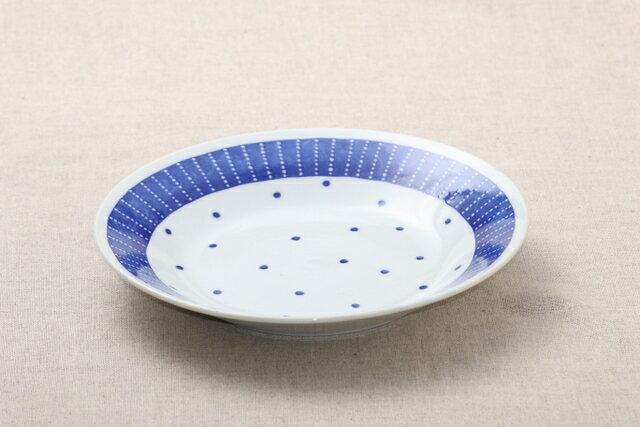 蒼天(そうてん) 24cm大皿 青と白の反らし型8.0皿水玉 ステッチ ディナープレート カレー皿 パスタ皿 和食器 日本製 カネ定 蒼の器【 02P18Jun16 】