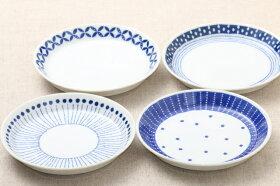 蒼天(そうてん)取り皿青と白の反らし型4.5皿水玉ステッチ小皿和食器日本製カネ定蒼の器