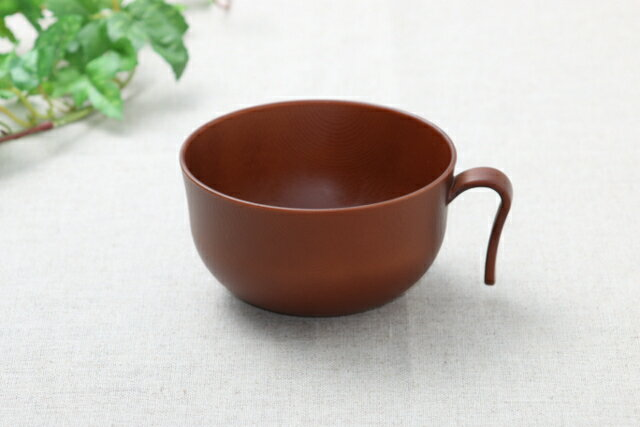持ち手付き 汁椀 Woody 樹脂製 木製風 ライトブラウン 電子レンジ・食洗機対応 お椀 日本製 スープカップ