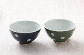 手づくり水玉茶碗(大)土物ネイビー/グリーン