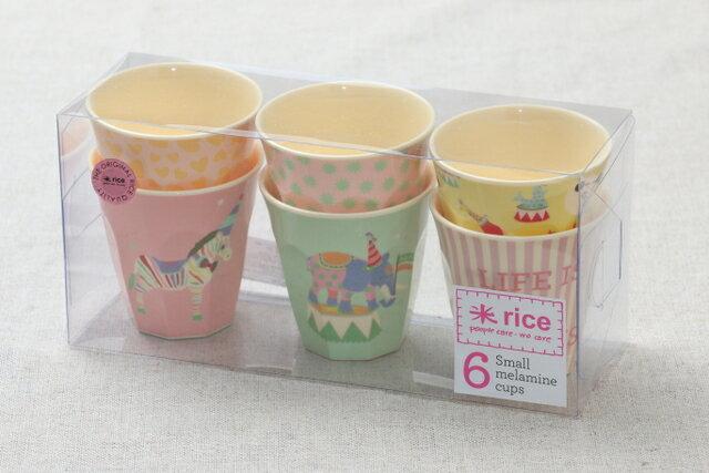 rice キッズプリントメラミンカップ 6柄セット ガールサーカスプリント 子供食器