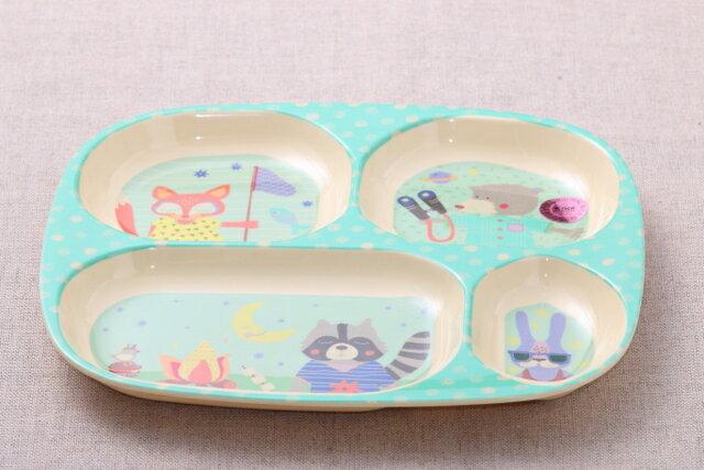 rice キッズメラミン ランチプレート 四つ仕切り ボーイズ ハッピー キャンパー 子供食器 2016春夏モデル