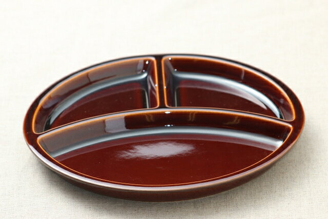 アメ色 陶器 丸型 ランチプレート 3つ仕切り皿 日本製 おうちカフェ 円形 茶色 おしゃれ【 02P18Jun16 】