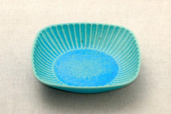 凜々(りり) 6.5鉢 トルコ釉 ターコイズブルー 四角鉢 日本製