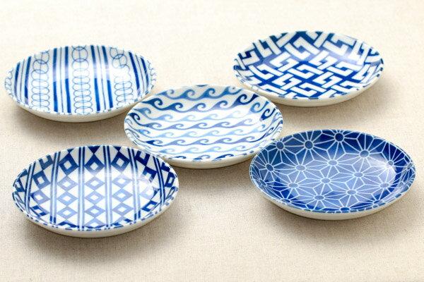 藍小紋 取り皿5柄セット 箱入おかず デザートにピッタリ プレート14cm 小皿セット 和食器 日本製