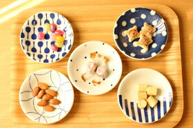 豆絞りほっこりつかいやすい豆皿藍染薬味皿醤油皿にピッタリプレート10cm小皿和食器グンジョー5柄B