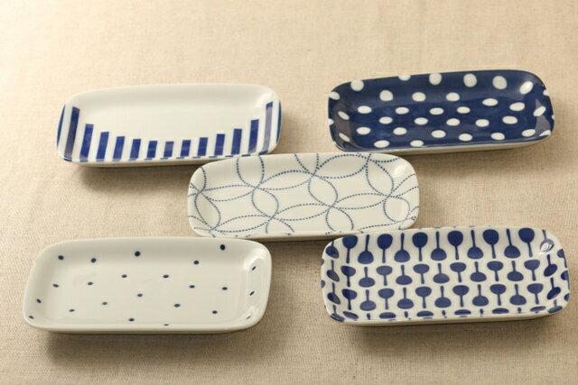 選べる5柄 四角い取り皿5枚セットB デザート・ケーキ皿にも箱無し あられ マラカス 七宝 豆絞り グラフ日本製の食器セット スクエアプレート 長角皿 グンジョー5柄B ほっこりつかいやすい