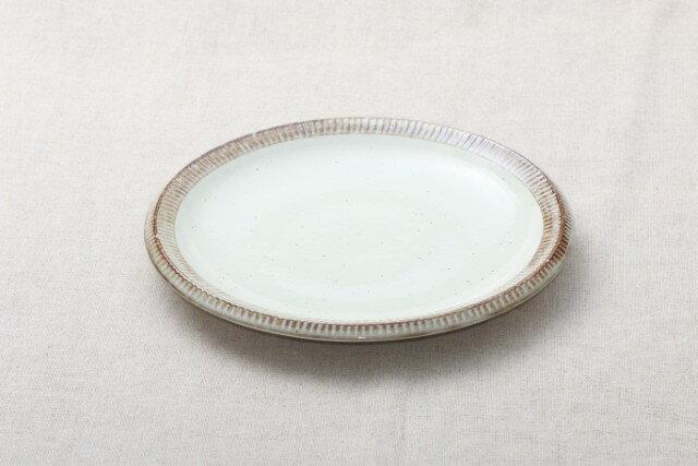 渕錆粉引 大皿 24cm ディナープレート カレー皿 パスタ皿 和食器 おうちカフェスタイル 日本製