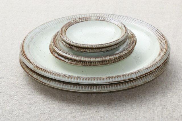 渕錆粉引 プレート3種6枚セット 大皿2枚 取り皿2枚 小皿2枚 うちカフェスタイル 日本製