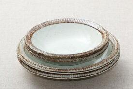 渕錆粉引 21cm深皿&中鉢ペアセット 21cm深皿2枚・中鉢2個セット うちカフェスタイル 日本製