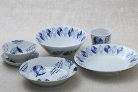 蒼葉(そうよう)小鉢青と白の反らし型4.5鉢ボウル和食器日本製蒼の器
