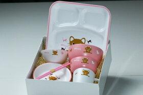 お食い初め食器7点セットキトゥン(子猫)日本製ピンク/ブルー送料無料コネコ出産祝い、誕生祝い、入園祝いに山中漆器子供食器セット樹脂製