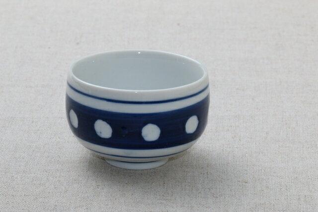 ブルー水玉 湯のみ1個/ドット/ほっこり/煎茶/湯呑み/ゆのみ/青/可愛い
