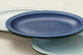 ドットリムオーバルプレート27cmネイビー楕円皿パスタ皿大皿和食器日本製