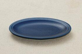 ドットリムオーバルプレート21cmネイビー楕円皿ケーキ皿中皿和食器日本製