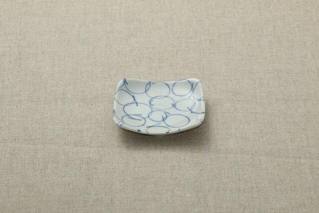 藍染5柄 さーくる 正角豆皿 3寸皿 角皿 ほっこりつかいやすい豆皿 薬味皿 プレート 小皿 和食器