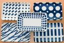 コバルト5柄 焼き物皿5枚セット 長角皿 クロス ウッド ラウンド リピート ドット 藍色 日本製 美濃焼 食器セット