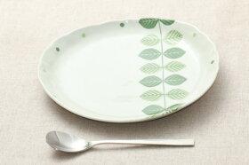 北欧調グリーンリーフナチュラル楕円プレートLL大皿ランチプレートワンプレートカレー皿パスタ皿