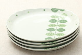 北欧調グリーンリーフナチュラル楕円プレートLL大皿ランチプレートワンプレートパスタ皿エルム