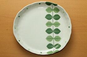 まとめてお得北欧調グリーンリーフナチュラル楕円プレートLL4個大皿ランチプレートワンプレートカレー皿パスタ皿
